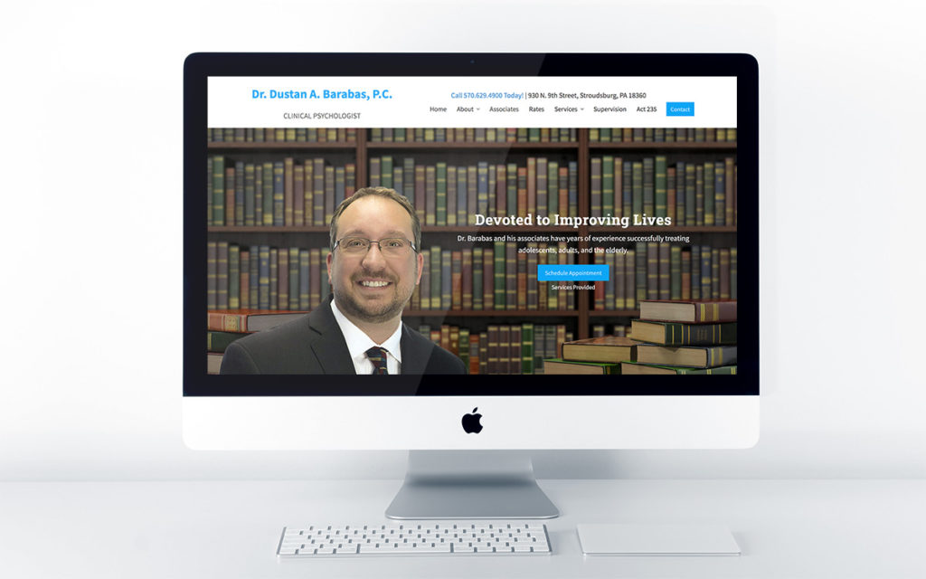 Home page design for Dustan Barabas (Clinical Psychologist)