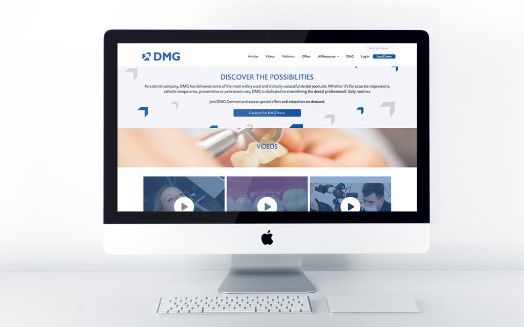 Home page design for DMG Connect
