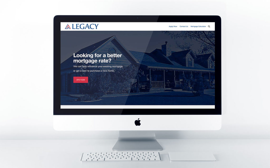 Home page design for Legacy Mortgage