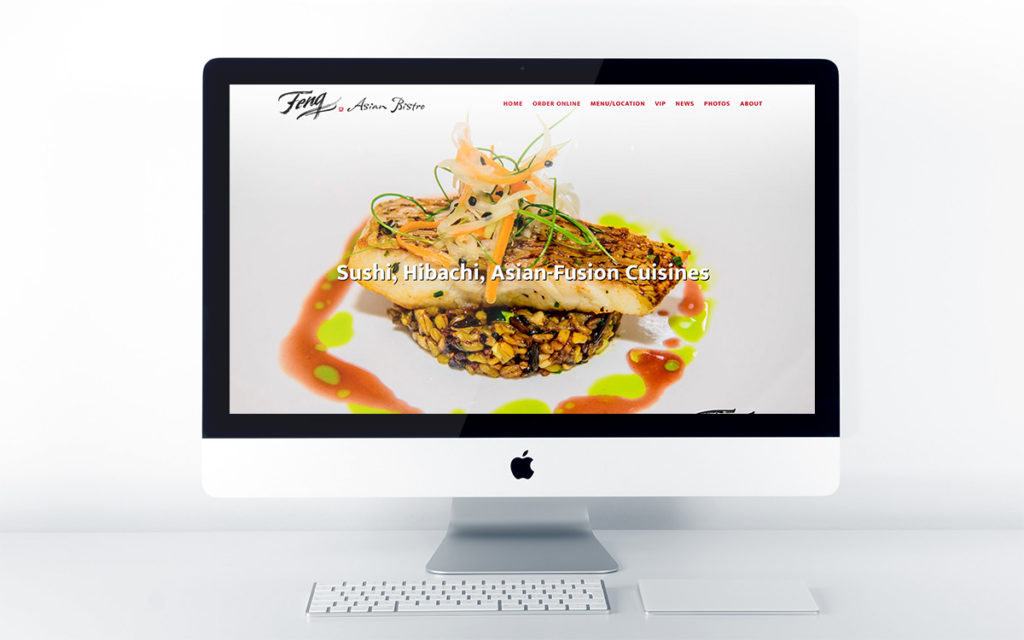 Home page design for Feng Asian Bistro & Hibachi