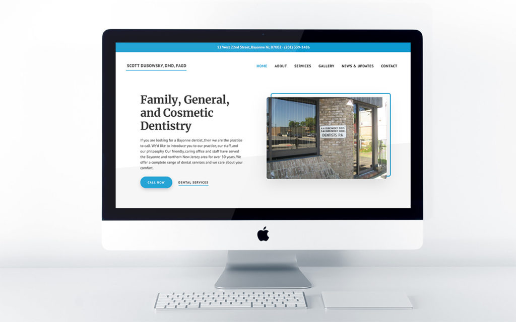 Home page design for Dr. Scott Dubowsky