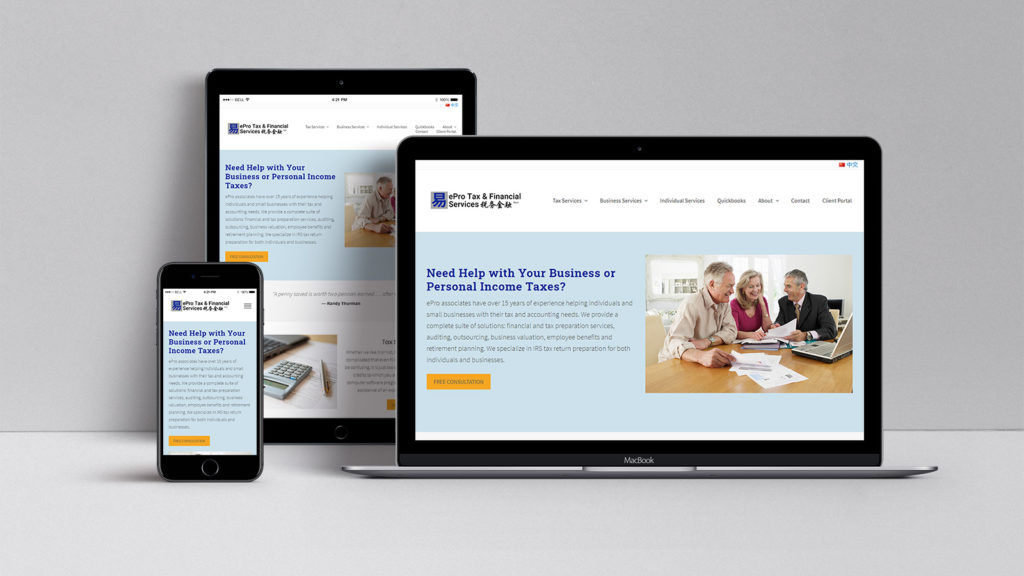 Affordable website design for ePro Tax and Financial Services