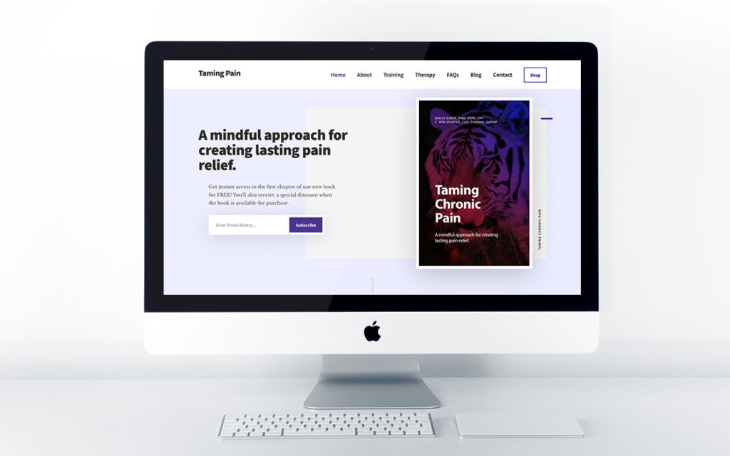 Home page design for Taming Chronic Pain book